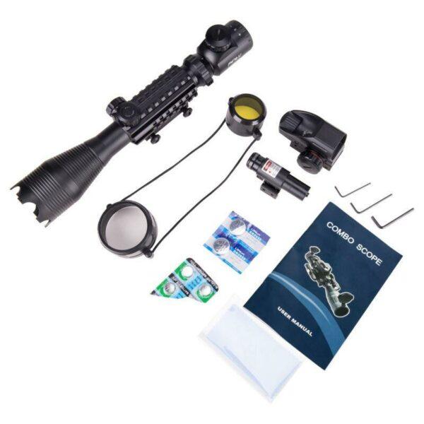 ReadyTac Official Retailer – 4-16×50 Rangefinder Scope | 4 Reticle Green/Red Dot Sight & Red Laser