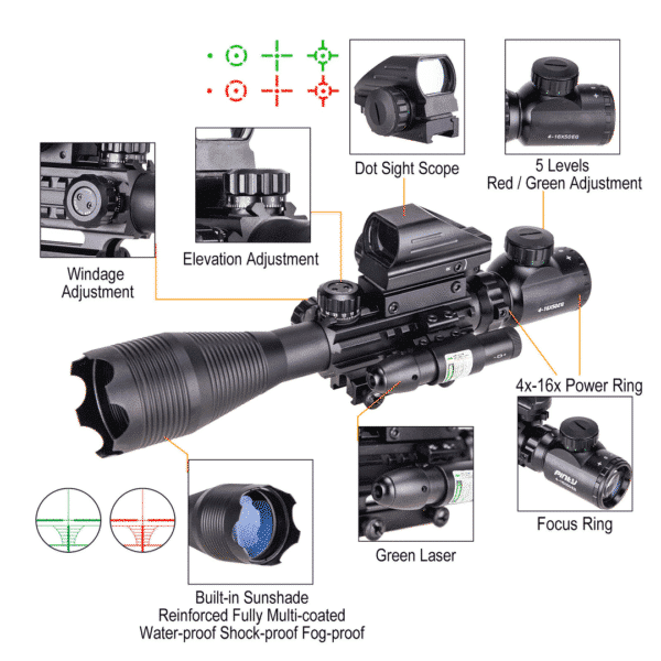 ReadyTac Official Retailer – 4-16×50 Rangefinder Scope | 4 Reticle Green/Red Dot Sight & Red Laser