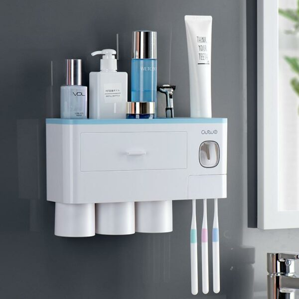 Oswei™ Official Retailer – Nordic Inspired Multi Functional Toothbrush Holder – Grey, 2 Cup Size
